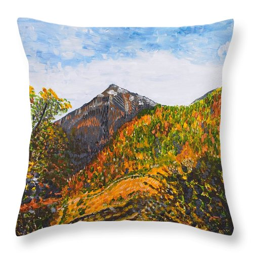 Landscape Throw Pillow featuring the painting Algund View by Valerie Ornstein