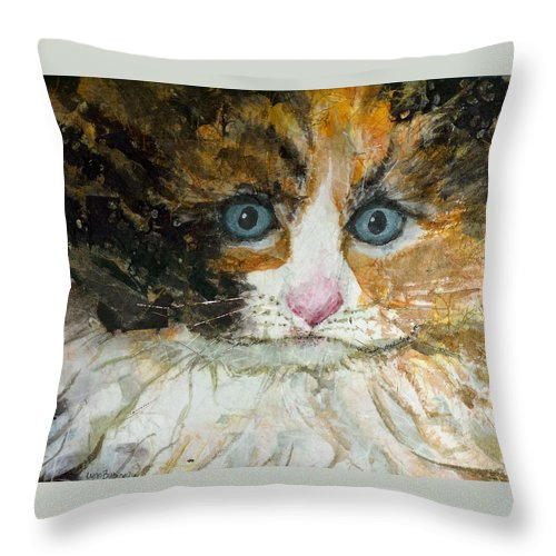 Cat Throw Pillow featuring the painting Ali Cat 1 by Lynn Babineau