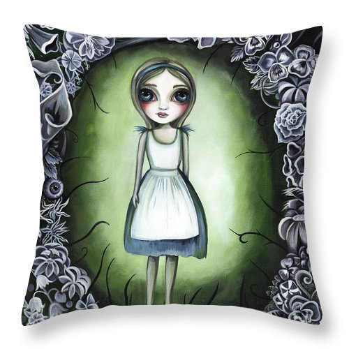Alice Throw Pillow featuring the painting Alice In The Deadly Garden by Jaz Higgins
