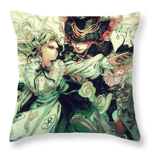 Alice In Wonderland Throw Pillow featuring the digital art Alice In Wonderland by Zia Low