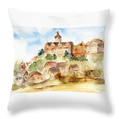 Castle Throw Pillow featuring the painting Alice's Castle by Anne Duke