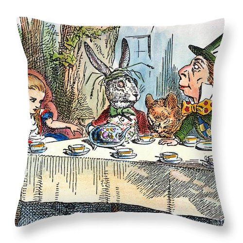 1865 Throw Pillow featuring the photograph Alices Mad-tea Party, 1865 by Granger