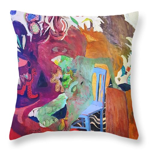 Throw Pillow featuring the painting Alice..to The Moon by Susan Price