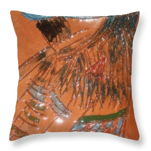Jesus Throw Pillow featuring the ceramic art Alicia - Tile by Gloria Ssali