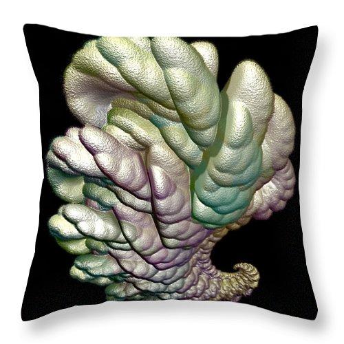 Fractal Throw Pillow featuring the digital art Alien Brain by Frederic Durville