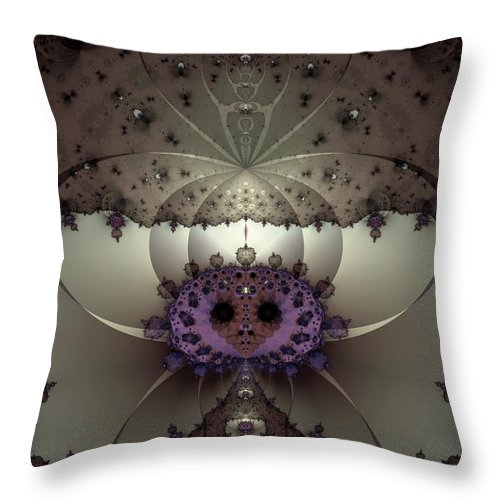 Abstract Throw Pillow featuring the digital art Alien Exotica by Casey Kotas