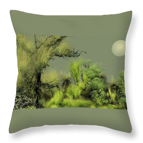 Digital Fantasy Painting Throw Pillow featuring the digital art Alien Garden 2 by David Lane