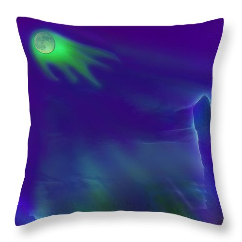 Moon Throw Pillow featuring the photograph Alien Ghost Moon by Steve Ohlsen