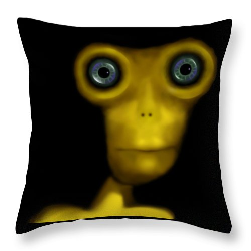 Digital Design ''alien'' Throw Pillow featuring the digital art Alien by Ginte Miles