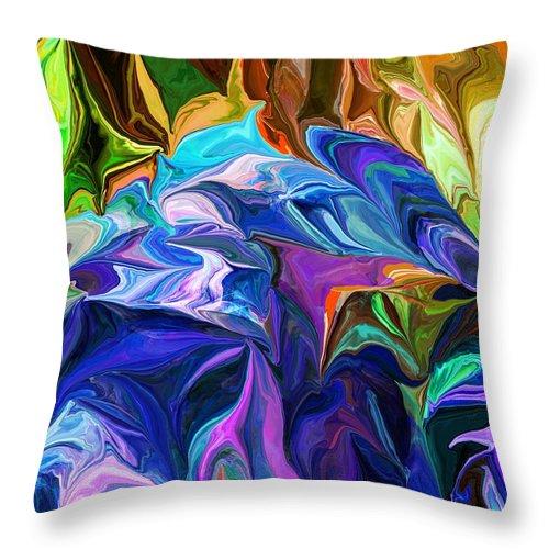 Fine Art Throw Pillow featuring the digital art Alien Jungle Flora by David Lane