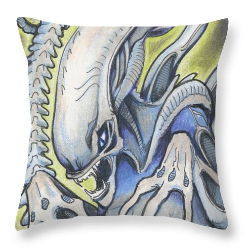 Atc Throw Pillow featuring the drawing Alien Movie Creature by Amy S Turner