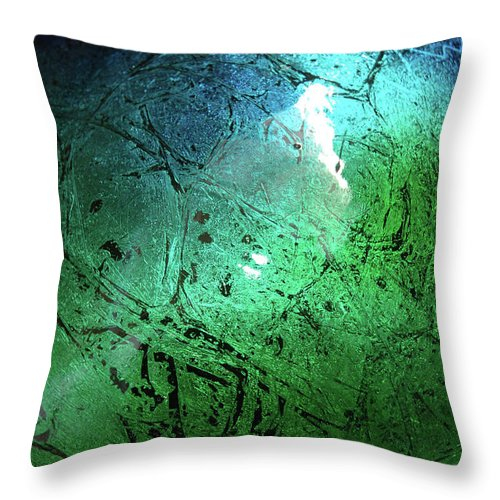 Green Throw Pillow featuring the painting Alien Planet by Jerry McElroy