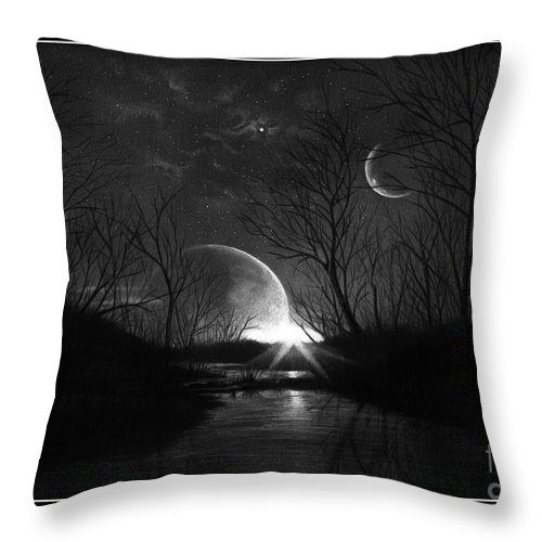 Pencil Throw Pillow featuring the drawing Alien Skies by Murphy Elliott