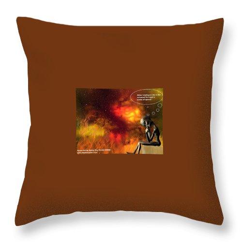 Comic Space Art Cartoon Artrage Artrageus Throw Pillow featuring the digital art Alien Thinker by Robert aka Bobby Ray Howle