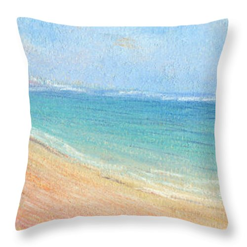 Rainbow Colors Pastel Throw Pillow featuring the painting Aliomanu Beach by Kenneth Grzesik