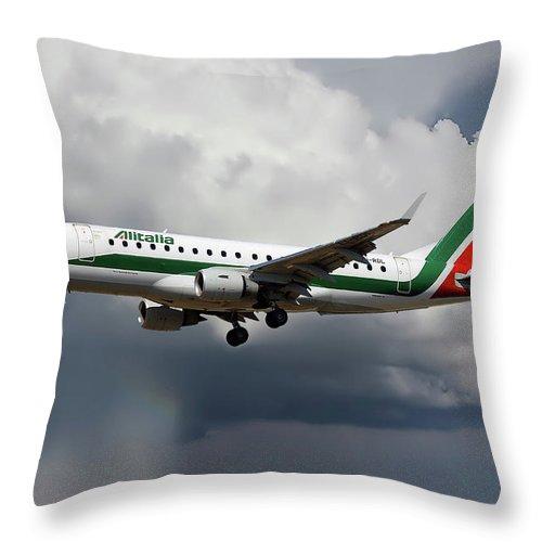 Alitalia Throw Pillow featuring the photograph Alitalia Embraer Erj-175std by Smart Aviation