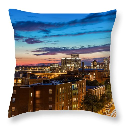 Main Street Throw Pillow featuring the photograph Alive At Night by Tim Wilson