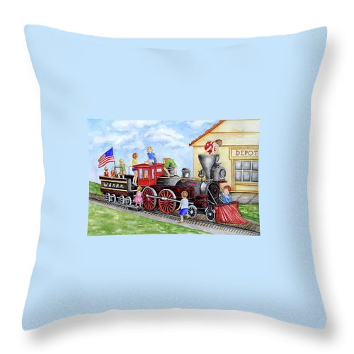 Children Throw Pillow featuring the painting All Aboard by Sally Storey Jones