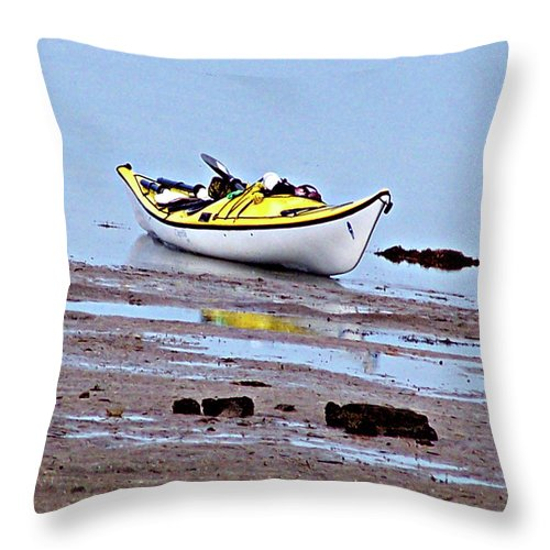 Kayak Throw Pillow featuring the photograph All Alone by Marilyn Holkham