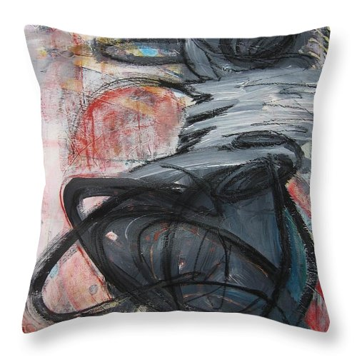 Abstract Paintings Paintings Throw Pillow featuring the painting All Alone by Seon-Jeong Kim