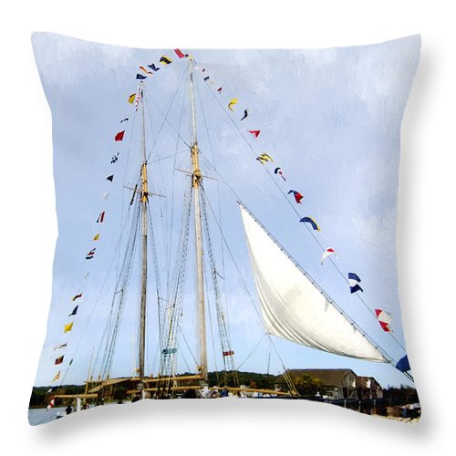 Landscape Throw Pillow featuring the painting All Flags Flying by RC DeWinter