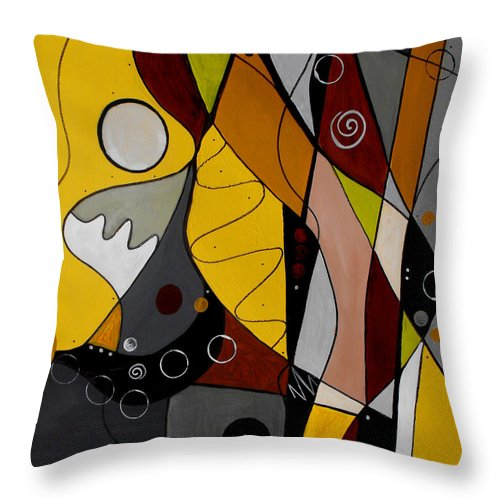 Abstract Throw Pillow featuring the painting All Hands On Deck by Ruth Palmer