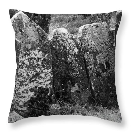 Ireland Throw Pillow featuring the photograph All In A Row At Fuerty Cemetery Roscommon Ireland by Teresa Mucha