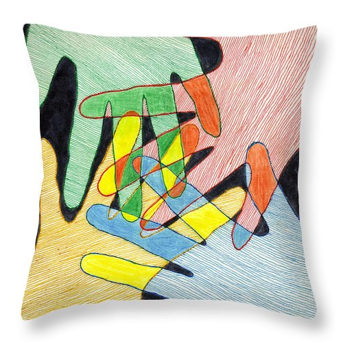 Hands Throw Pillow featuring the mixed media All In by Jean Haynes