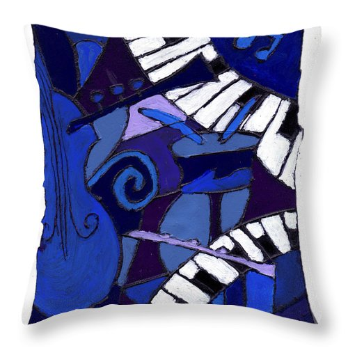Jazz Throw Pillow featuring the painting All That Jazz 3 by Wayne Potrafka