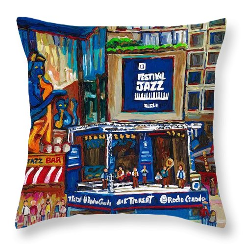 Montreal Throw Pillow featuring the painting All That Jazz by Carole Spandau