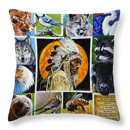 American Indian Throw Pillow featuring the painting All Things Connect by John Lautermilch