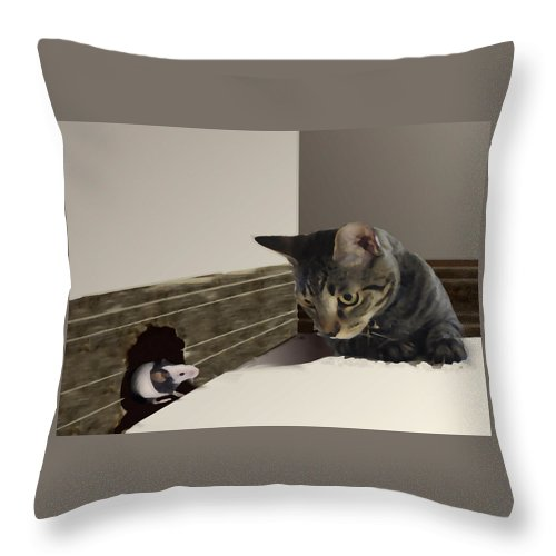 Cat And Mouse Throw Pillow featuring the painting All Things Considered I Would Rather Bbe In Philadelphiaa by David Zimmerman