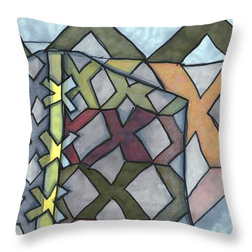 Sandy Church Throw Pillow featuring the drawing X's And No O's by Sandra Church