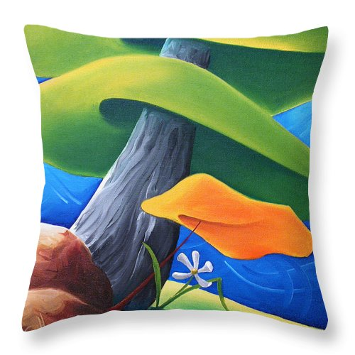 Landscape Throw Pillow featuring the painting All Under One Roof by Richard Hoedl