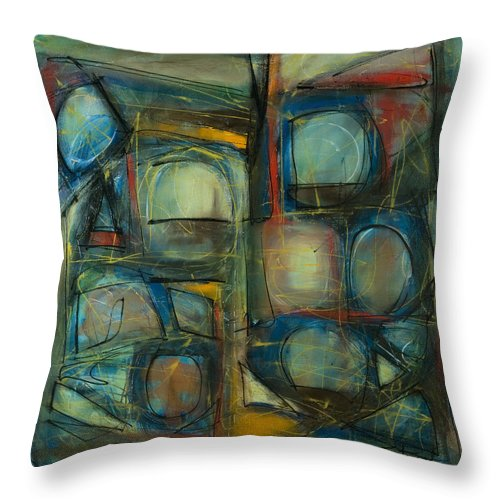 Abstract Painting Throw Pillow featuring the painting All Who Enter by Lynne Taetzsch