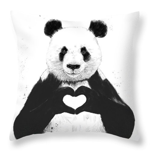 Panda Throw Pillow featuring the mixed media All You Need Is Love by Balazs Solti