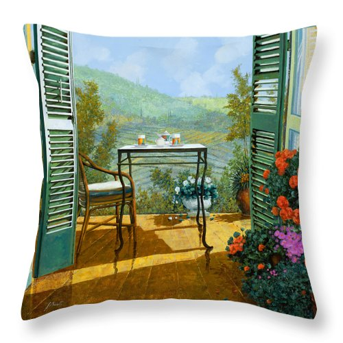 Terrace Throw Pillow featuring the painting Alle Dieci Del Mattino by Guido Borelli