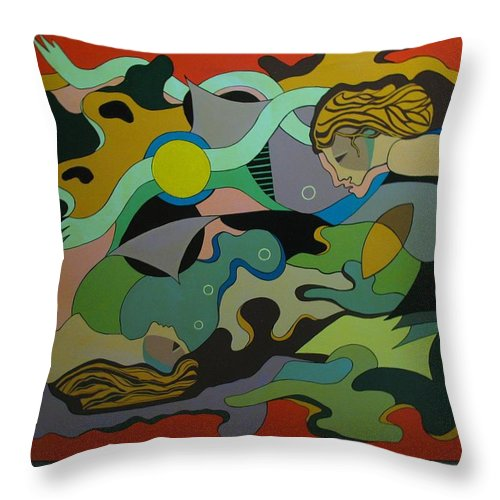 Abstract Throw Pillow featuring the painting Allegory-the Double Personality by Vasilis Bottas
