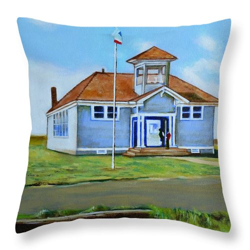 Buildings; School; Landscape; African American Community; Historical State Park; Throw Pillow featuring the painting Allensworth School by Howard Stroman