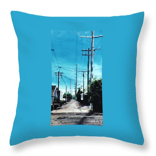 Cityscapes Throw Pillow featuring the painting Alley No. 1 by Duke Windsor