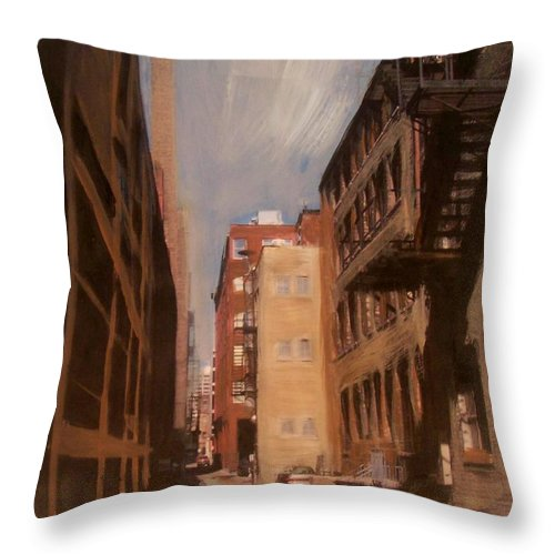 Alley Throw Pillow featuring the mixed media Alley Series 1 by Anita Burgermeister