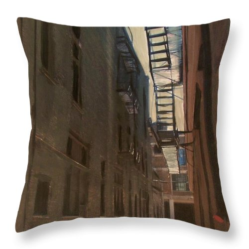 Alley Throw Pillow featuring the painting Alley Series 5 by Anita Burgermeister