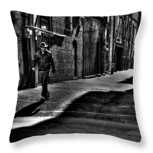Pioneer Square Throw Pillow featuring the photograph Alley Stroll by David Patterson