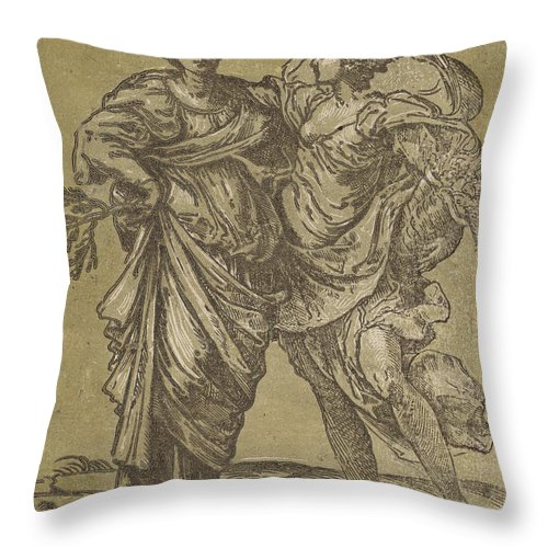 Throw Pillow featuring the drawing Alliance Of Peace And Abundance by Bartolomeo Coriolano After Guido Reni