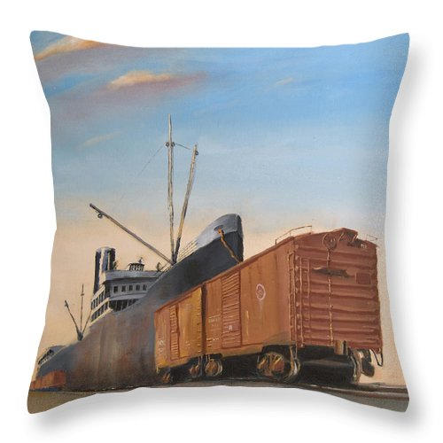 Ship Throw Pillow featuring the painting Allied Orient Lines by Christopher Jenkins