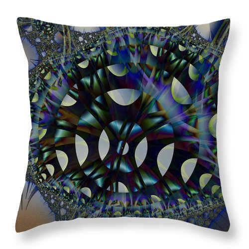 Fractal Throw Pillow featuring the digital art Allien Gears by Frederic Durville