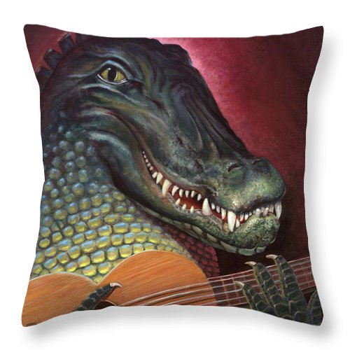 Alligator Throw Pillow featuring the painting Alligator Al by Peter Bonk
