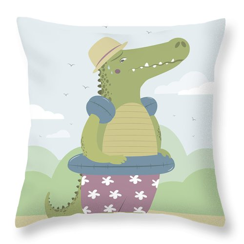 Vector Throw Pillow featuring the painting Alligator On The Beach by Pablo Romero