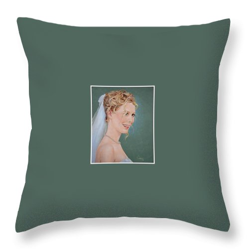 Wedding Throw Pillow featuring the painting Allison by Jerrold Carton