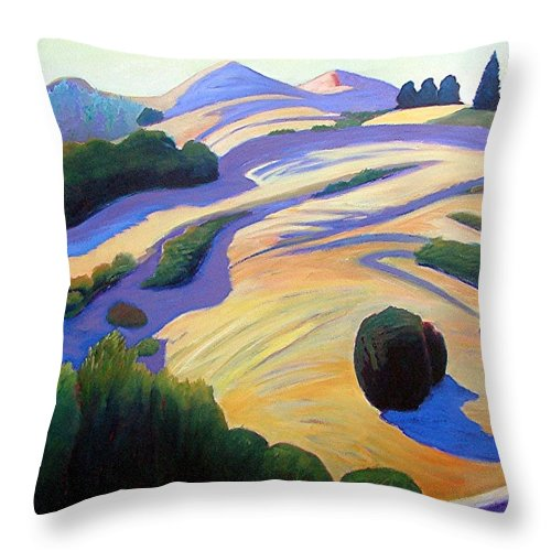 Hills Throw Pillow featuring the painting Alluring Windy Hill by Gary Coleman
